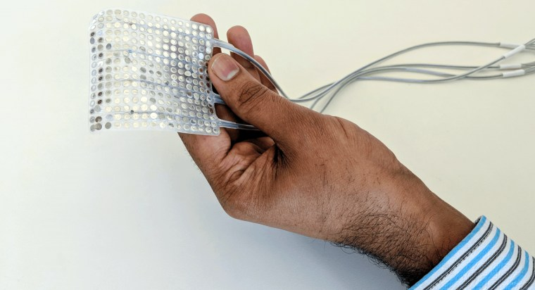 Image: An electrode array placed on the brain could help people who've lost the ability to speak.