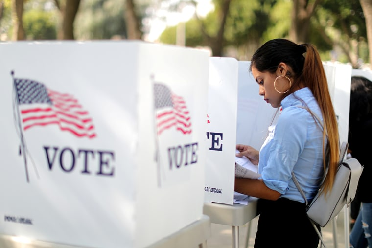 Image: Desteny Martinez votes in the midterm elections in Norwalk, California, on Oct. 24, 2018.