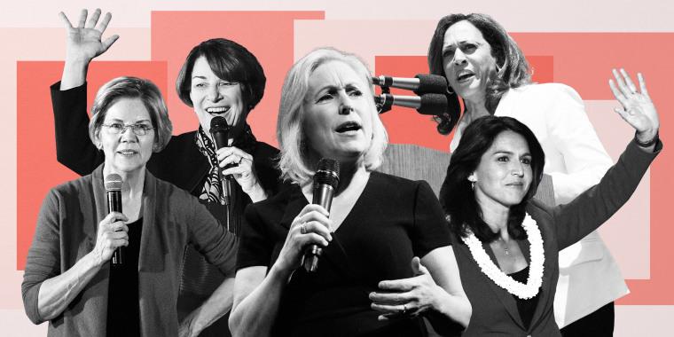 Image: Sen. Amy Klobuchar, Sen. Elizabeth Warren, Sen. Kirsten Gillibrand, Sen. Kamala Harris, Rep. Tulsi Gabbard