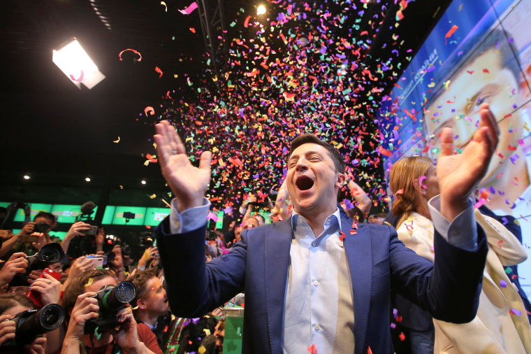 Image: Candidate Zelenskiy reacts following the announcement of an exit poll in Ukraine's presidential election in Kiev