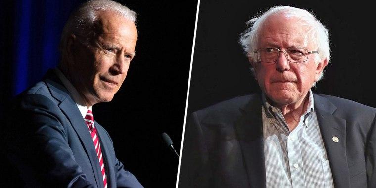 Former Vice President Joe Biden, left, and Sen. Bernie Sanders