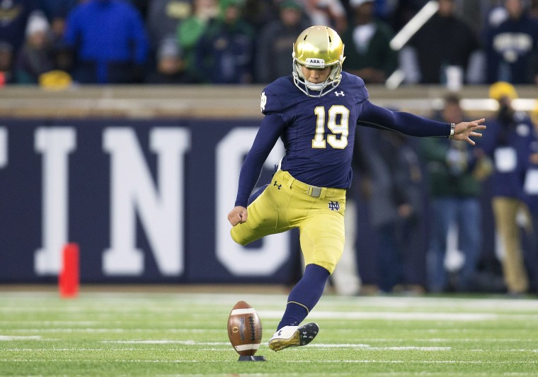 Image: Notre Dame kicker Justin Yoon (19) during NCAA football game action between the North Carolina State Wolfpack and the Notre Dame Fighting Irish at Notre Dame Stadium