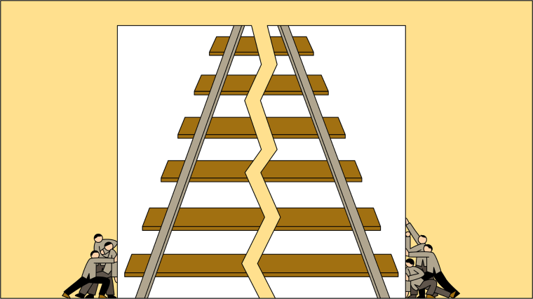 Illustration of railroad workers pushing together an image of a broken railway.