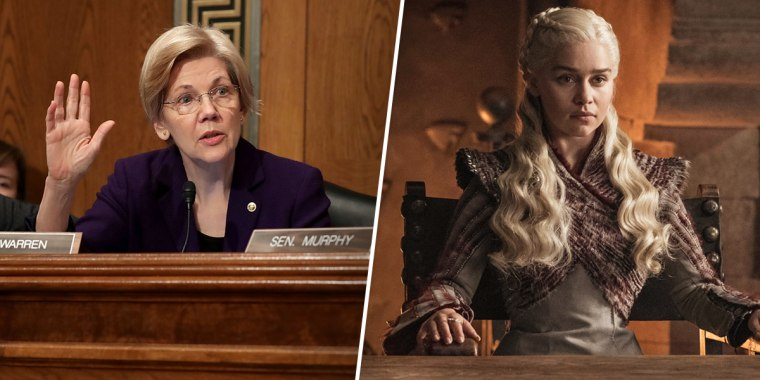"Elizabeth Warren; Emilia Clarke in ""Game of Thrones"""