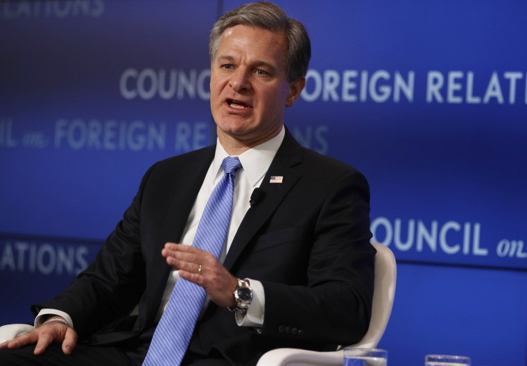 Image: FBI Director Christopher Wray addresses the Council on Foreign Relations in Washington