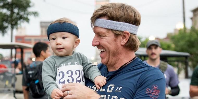 Chip Gaines runs half-marathon with baby Crew by his side