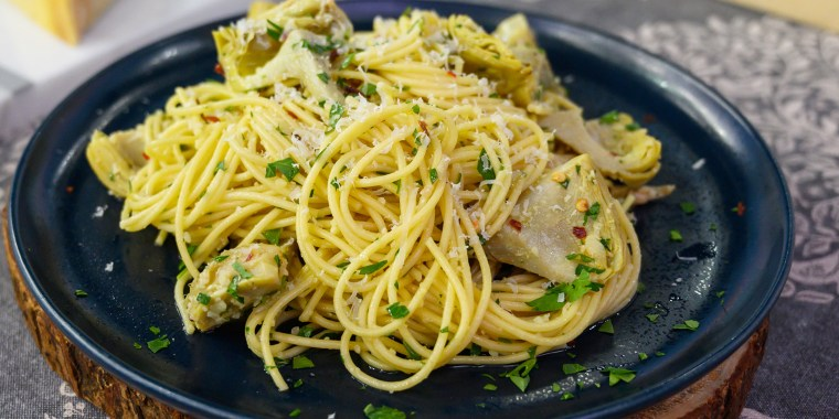 Carla Lalli Music's Chicken Cutlets with Spicy Coconut Dressing + Spaghetti with Quick-Braised Artichoke Hearts
