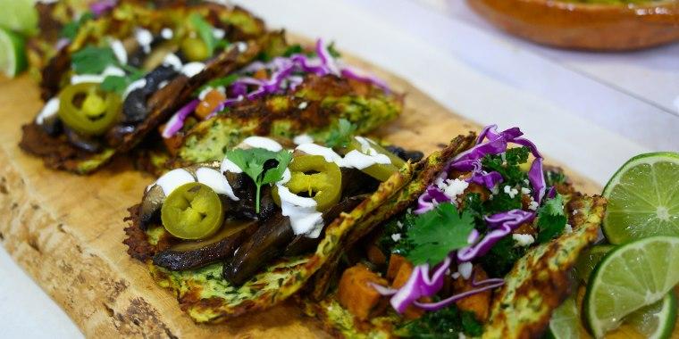 Marcela Valladolid's Chile-Mango Guacamole + Trio of Veggie Tacos + Roasted Tomatillo Salsa + Pitaya Margaritas