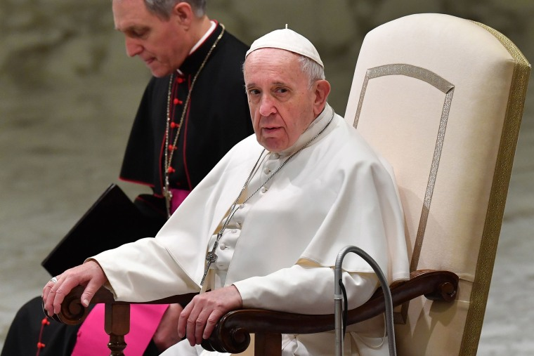 Image: Pope Francis looks on during the weekly general audience on Feb. 6, 2019 at Paul-VI hall in the Vatican
