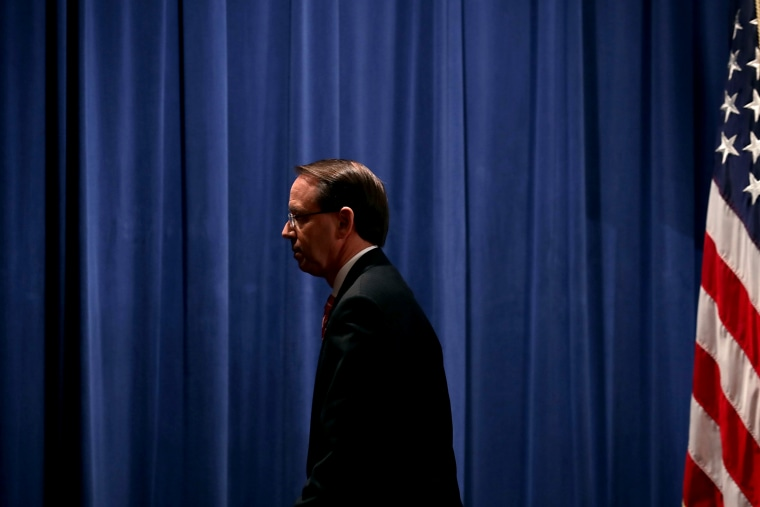 Image: Deputy Attorney General Rod Rosenstein leaves a news conference at the Department of Justice on July 13, 2018.