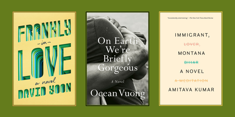 "Book covers for ""Frankly in Love"" by David Yoon, ""On Earth We're Briefly Gorgeous"" by Ocean Vuong, and ""Immigrant, Montana"" by Amitava Kumar."