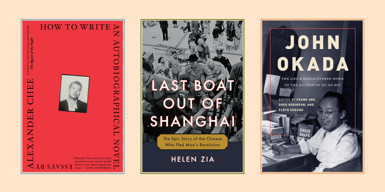 """Book covers for \""""How to Write an Autobiographical Novel\"""" by Alexander Chee, \""""Last Boat Out of Shanghai: The Epic Story of the Chinese Who Fled Mao's Revolution\"""", and \""""JOHN OKADA: The Life & Rediscovered Work of the Author of 'No-No Boy.\"""""""