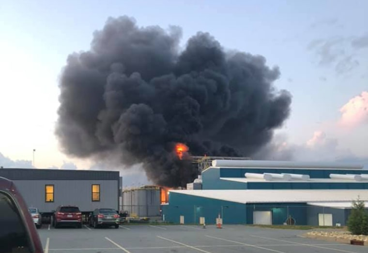 Image: A fire at a zinc production plant in Mooresboro, N. C.