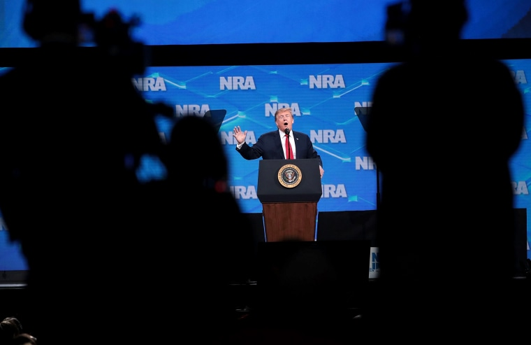 Image: President Donald Trump speaks at the NRA-ILA Leadership Forum in Indianapolis on April 26, 2019.