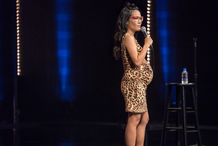 "Image: Ali Wong performs in a Netflix comedy special, ""Hard Knock Wife."""