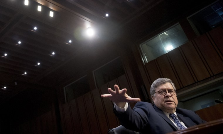 Image: William Barr testifies during a Senate Judiciary Committee hearing on Capitol Hill in Washington