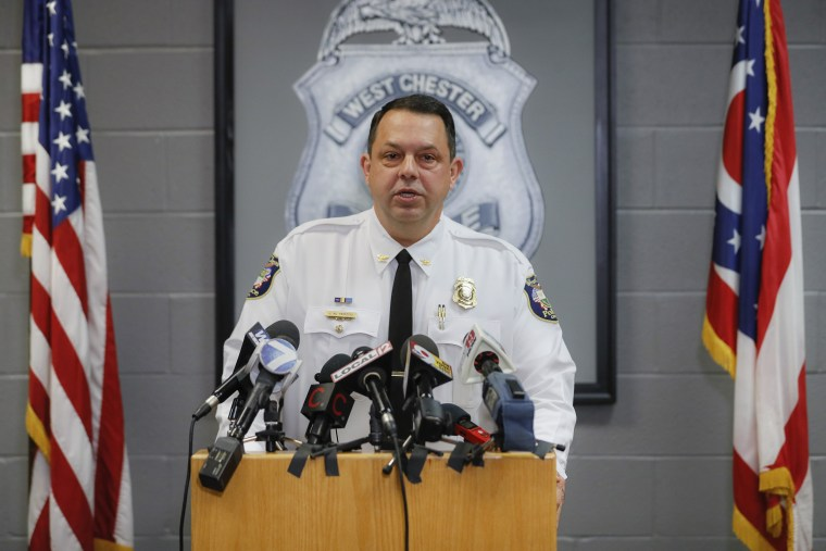Image: West Chester Chief of Police Joel Herzog speaks to reporters during a news conference