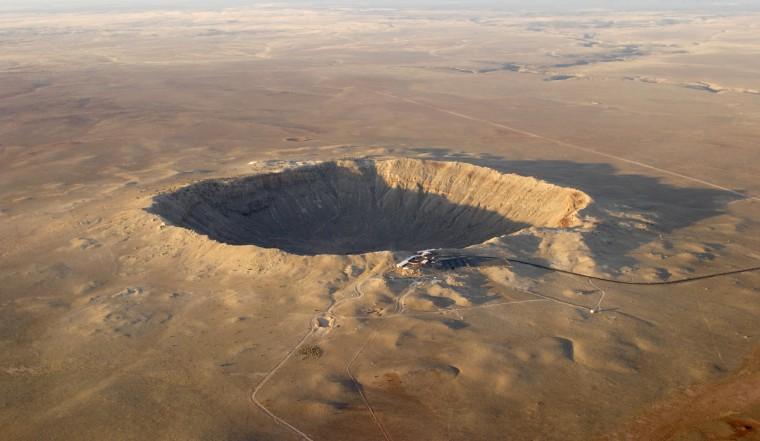 Aerial view of Barringer crater (meteor impact) in Arizona