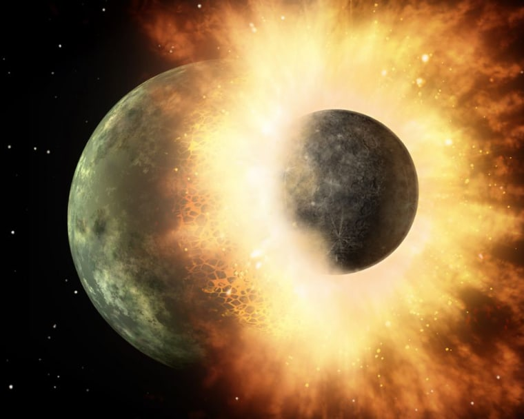 The moon may have formed after a giant Mars-size rock hit a magma-covered newborn Earth