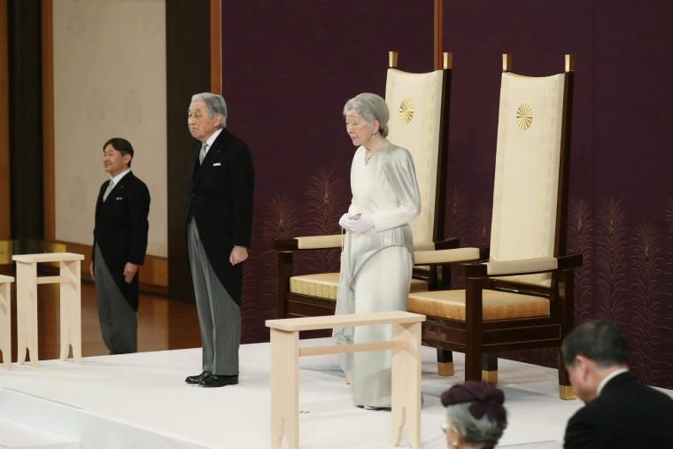 Image: Japan's Emperor Akihito and Empress Michiko attend a ritual called Taiirei-Seiden-no-gi, a ceremony for the Emperor's abdication, at the Imperial Palace in Tokyo