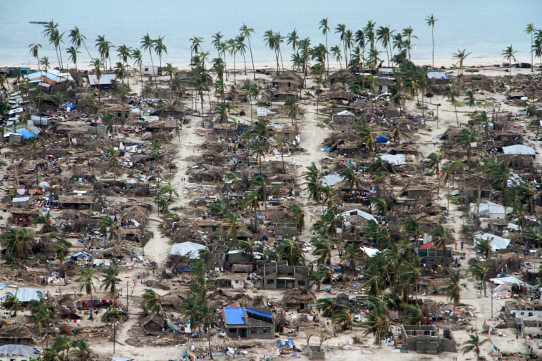 Image: Damage in the Macomia district following Cyclone Kenneth in Mozambique on April 27, 2019.