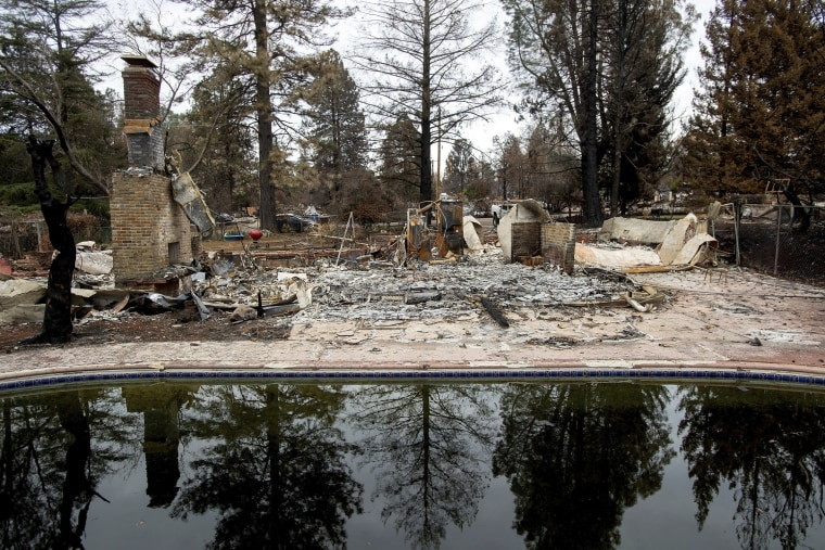 Trees reflect in a swimming pool outside Erica Hail's Paradise, California, home, which burned during the Camp Fire, on Dec. 3, 2018.