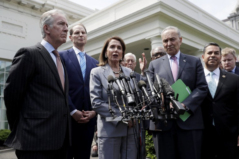 Image: Speaker of the House Nancy Pelosi and Senate Minority Leader Sen. Chuck Schumer talk to reporters after meeting with President Donald Trump at the White House on April 30, 2019.