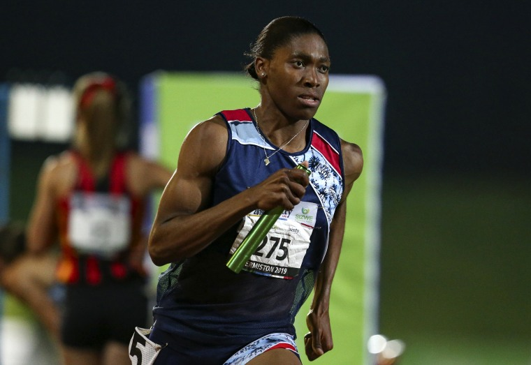 Image: Caster Semenya competes at an event in Johannesburg, South Africa, on April 27, 2019.
