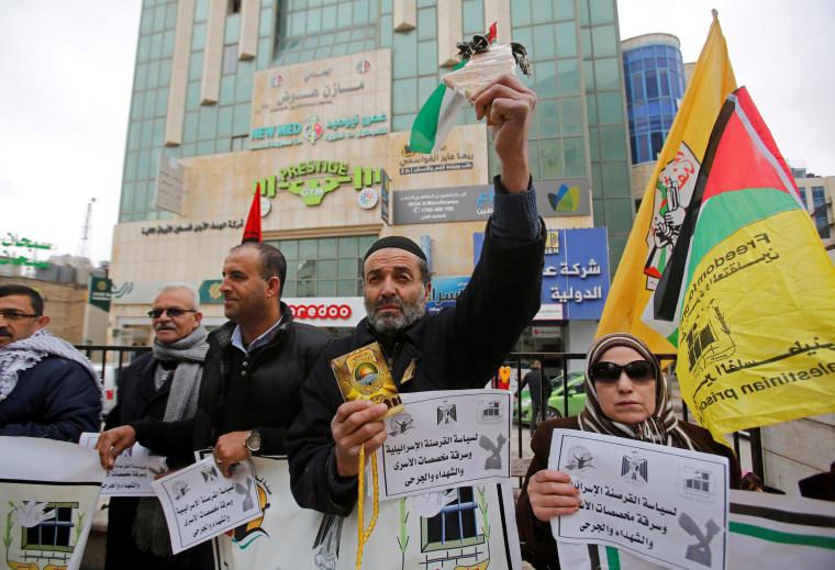 Image: Palestinian demonstration over prisoner stipends