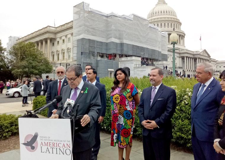Several Latino legislators including Rep. Rep. Jose Serrano, (D-NY) at center, and Rep. Joaquin Castro (D-TX) and Sen. Robert Menendez (D-NJ) announced the reintroduction of a bill to establishing a Smithsonian National Latino Museum.