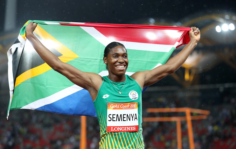 South Africa's Caster Semenya celebrates winning gold