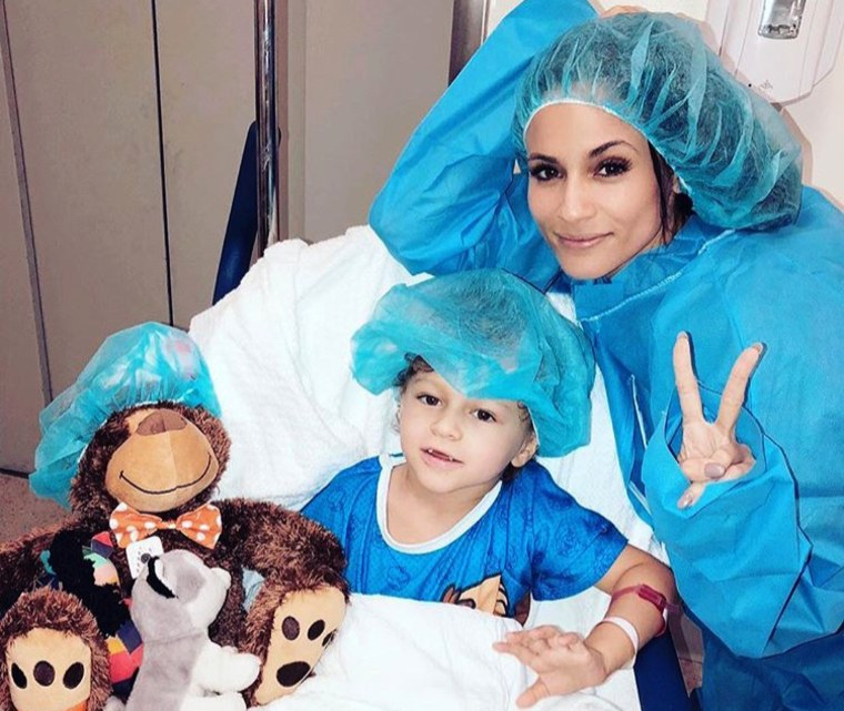 Caterina Lopez and her son Princeton in the hospital
