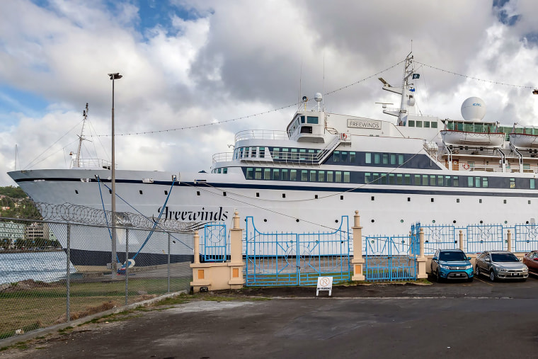 Image: The Freewinds cruise ship owned by the Church of Scientology is seen docked in quarantine at the Point Seraphine terminal in Castries, Saint Lucia