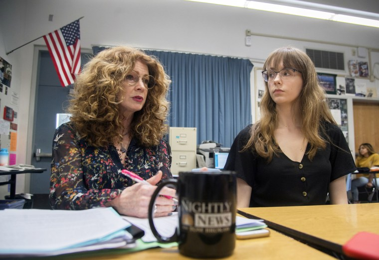 Bear Creek High School student newspaper adviser Kathi Duffel, left, and student journalist Bailey Kirkeby talk about the Lodi Unified School District's attempts at suppressing a story that Kirkeby wrote about a current 18-year-old student who works in the porn industry, in Stockton, California on April 26, 2019.