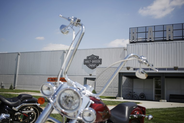 Motorcycles sit parked outside the Harley-Davidson Vehicle and Powertrain Operations factory