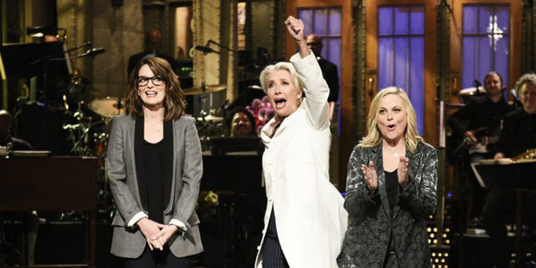 Tina Fey, host Emma Thompson, and Amy Poehler