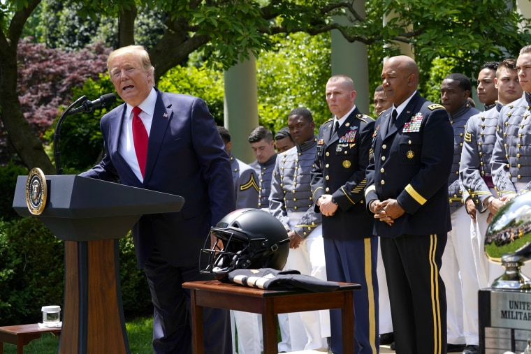 Image: U.S. President Trump welcomes U.S. Military Academy Football Team at the White House in Washington