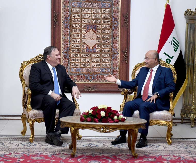 Image: Iraq's President Barham Salih meets with U.S. Secretary of State Mike Pompeo in Baghdad