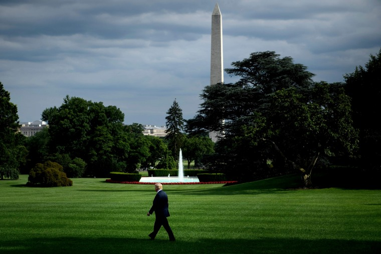 Image: President Donald Trump walks to Marine One on the South Lawn of the White House on June 25, 2018.