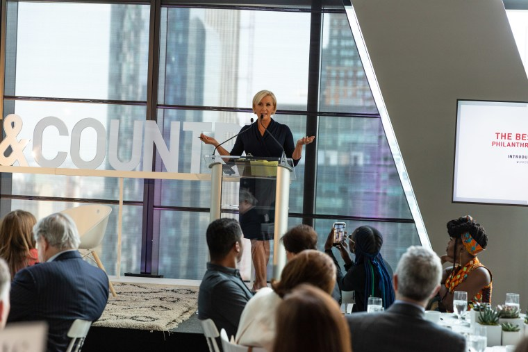 """Know Your Value founder and """"Morning Joe"""" co-host Mika Brzezinski speaks at the Town & Country Philanthropy Summit in New York City on Wednesday."""