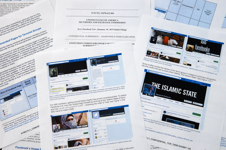 Image: Facebook pages from a confidential whistleblower's report showing extremist posts in Washington on May 7, 2019.
