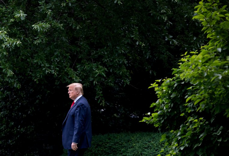 Image: President Donald Trump walks to Marine One from the White House on May 8, 2019.