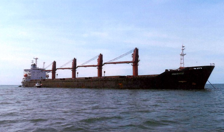 """Image:  The North Korean ship, \""""Wise Honest.\"""""""