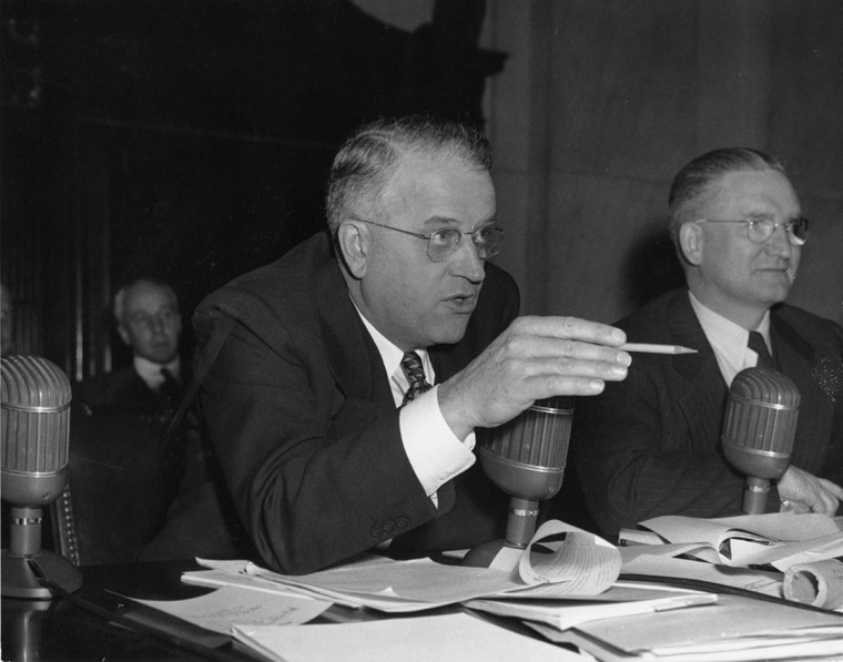 Senators Kenneth Wherry, left, and J. Lister Hill conducted the first congressional investigation into homosexuality in the federal workforce.