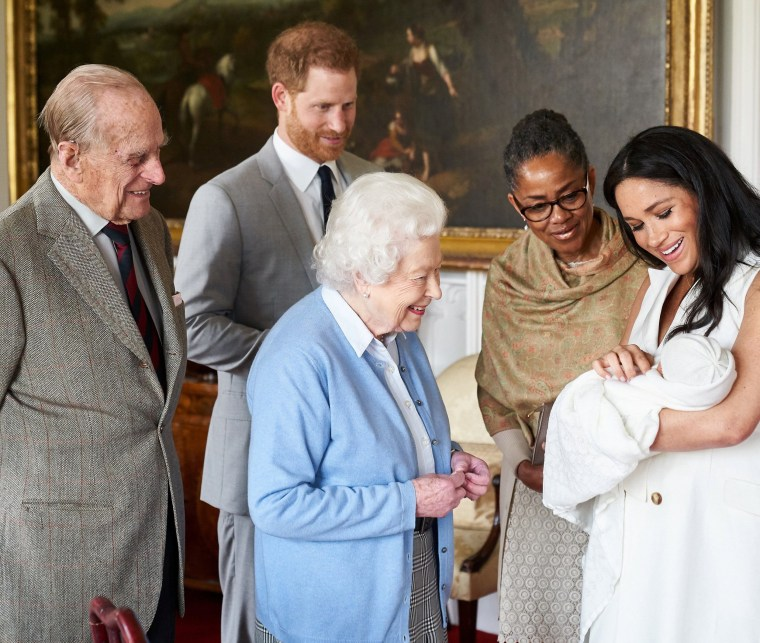 Image: Prince Harry and Meghan, Duchess of Sussex, introduce their newborn son, Archie Harrison Mountbatten-Windsor, to the Duke of Edinburgh, Queen Elizabeth and Meghan's mother, Doria Ragland, at Windsor Castle on May 8, 2019.