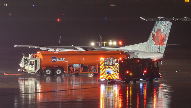 Image: An Air Canada plane came into contact with fuel truck at Toronto Pearson Airport on May 10, 2019.