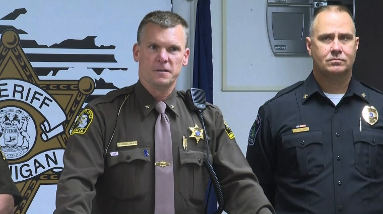Ingham County Sheriff Scott Wriggelsworth speaks at a news conference about an incident in the Lansing, Michigan area they say has left two people dead.