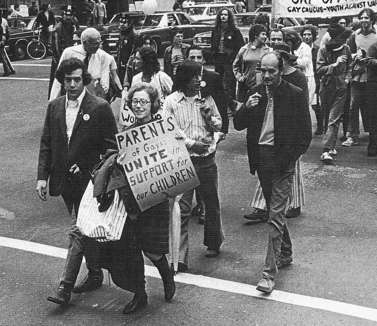 Jeanne Manford marches with her son Morty in the New York City Christopher Street Liberation Day Parade on June 28, 1972.