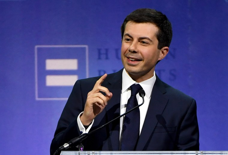 Image: Democratic Presidential Candidate Pete Buttigieg Gives Keynote Address At Human Rights Campaign's Gala In Vegas