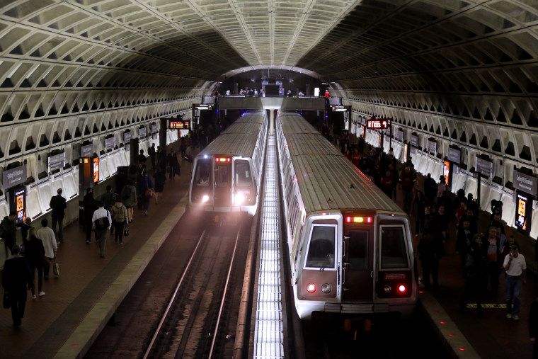 Image: Metro trains arrive at the Gallery Place-Chinatown Station in Washington, D.C., on March 15, 2016.